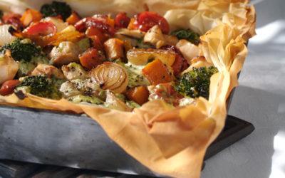 Filo-hoenderpastei met geroosterde groente
