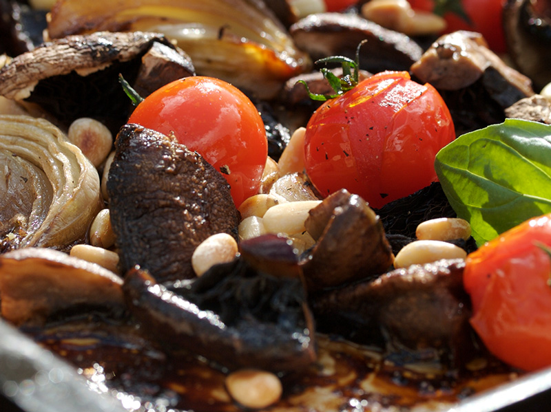 Roasted tomatoes, mushrooms & onions