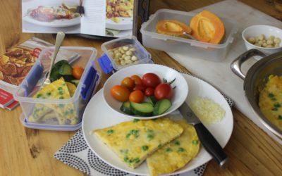 Pan-omelet met mielies & ertjies