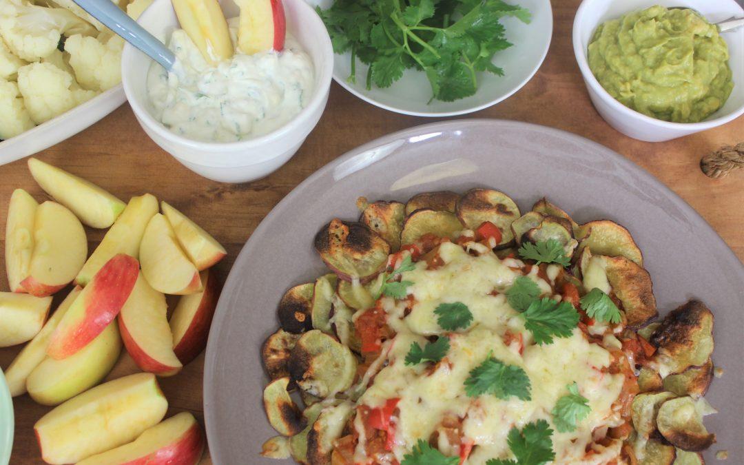 Patat-nachos met tuisgemaakte chakalakasous