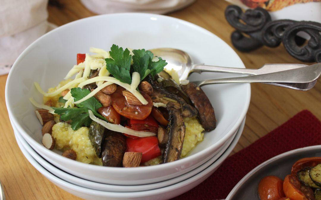 Romerige mieliepap met geroosterde groente