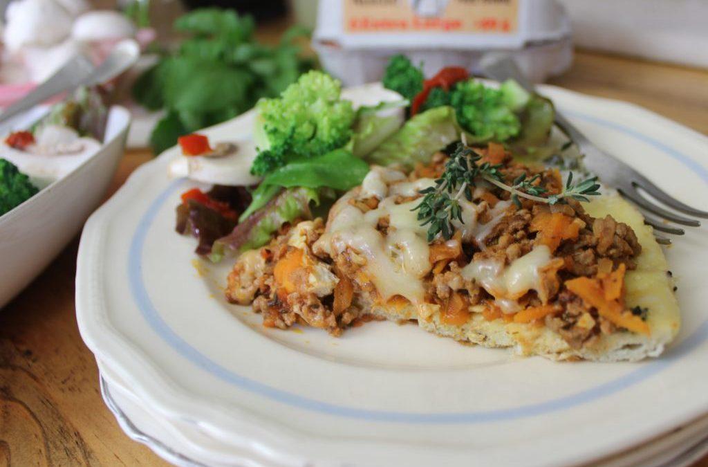 Eier-pizza met maalvleis