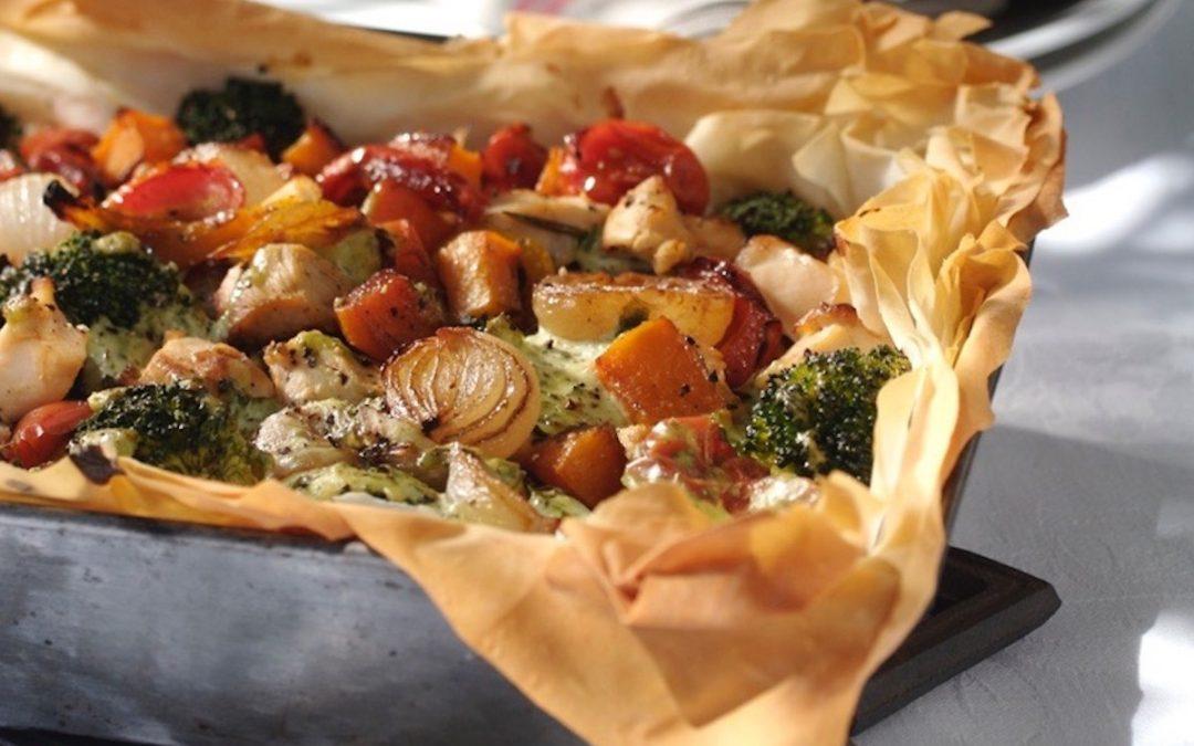 Filo-hoenderpastei met groente