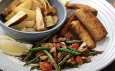 Pangebraaide vis met drie groentes