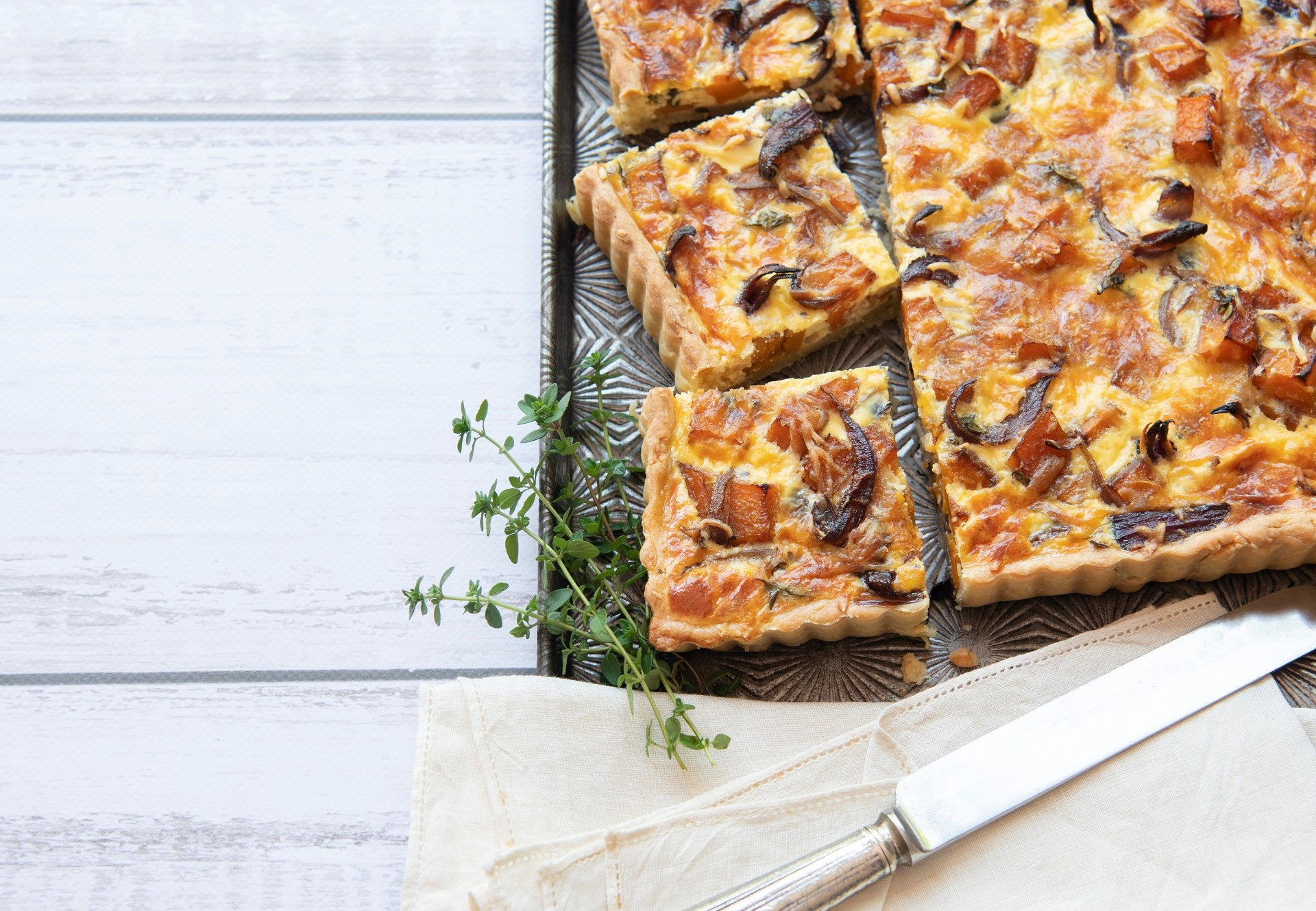 Butternut and red onion quiche