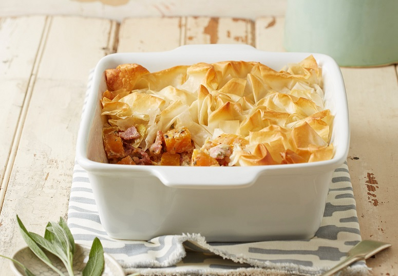 Phyllo pie with bacon & butternut