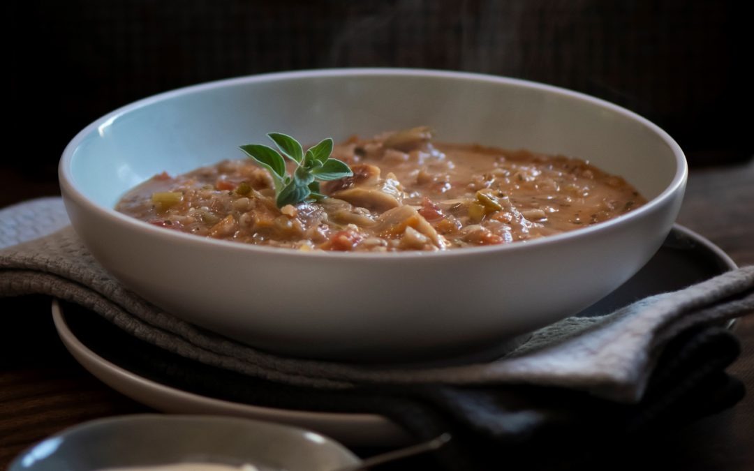 Hearty barley soup with sausages