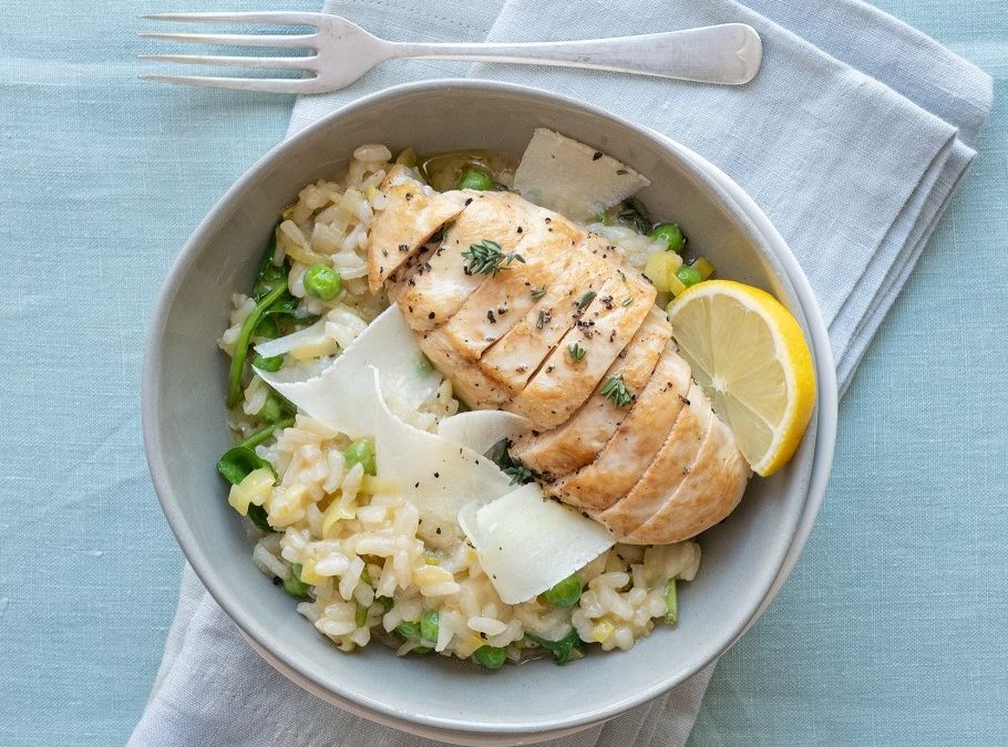 Lemon & pea risotto with chicken