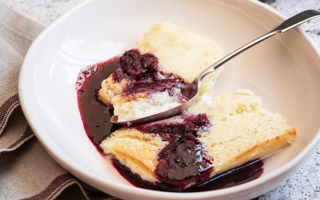 Buttermilk pudding with berry sauce