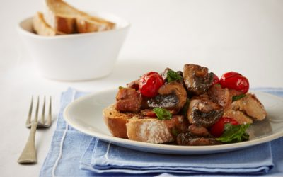Pan-fried mushrooms with bacon & spinach